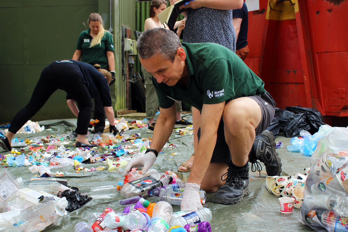 Plastic pollution sorting at Marwell Wildlife
