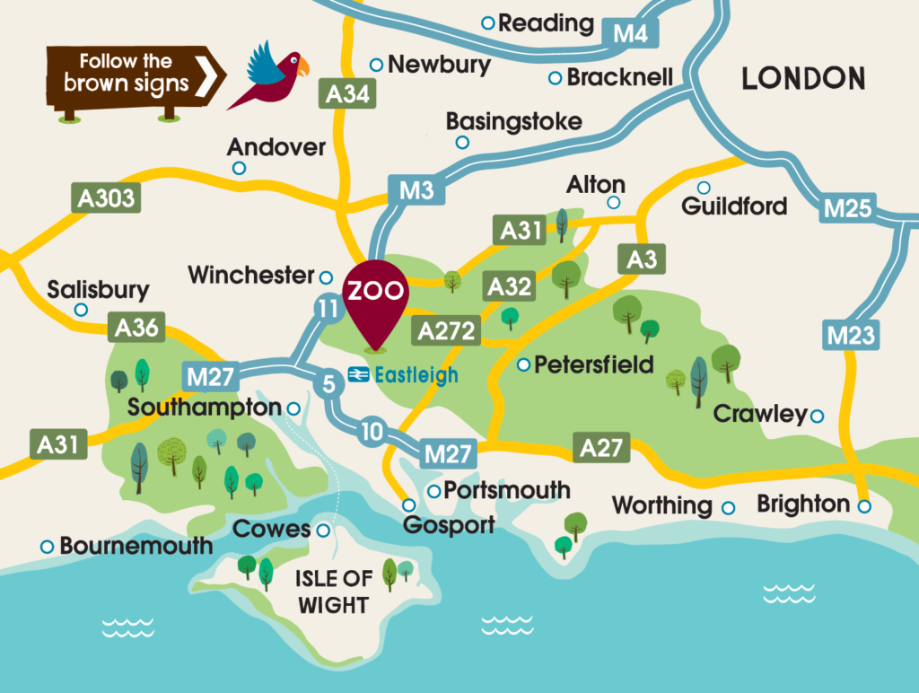 Marwell Zoo Location Map